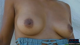 Indian MILF model stripteasing outdoor and plays with a hose