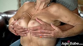 Rob gets turned on on granny Malya as she flashed her titties on him