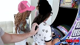 HOT Gamer Babe Besties Fuck The Owner Of The Arcade