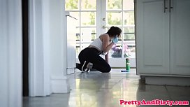Pussylicked maid drilled by...