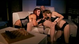 Dirty threesome for redhead...