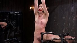 Gagged and bound sub gets rough flog