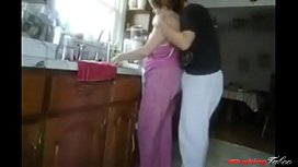 Mother &amp_ Son Fuck in the Kitchen