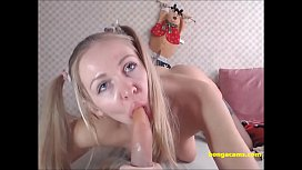Cute blonde masturbates in...