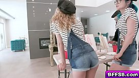 Horny teens strips and shares the studs big boner and took turns getting their pussy shoved