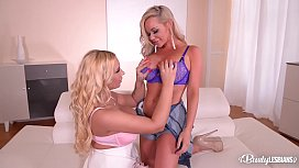Busty lesbians Kyra Hot & Rachele Richey do it hard and fill shaved pinks