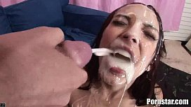 Danni Cole Gets A Bukakke Treat From Two Huge Cocks