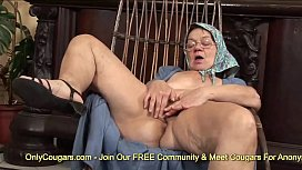 Horny Granny Dusts Off Her Old Pussy &amp_ Gives Herself An Orgasm