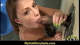 Cuckold hubby sucks snowball at gloryhole 27