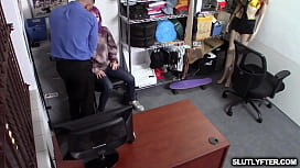Val Steele bouncing her tight teen cooch on top of the pervy security officer