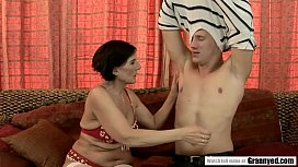 Short Haired Granny Margo T. Stuffed by Hard White Rod