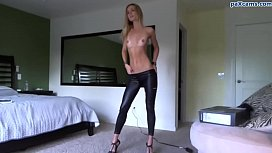 Blonde beauty strips out...