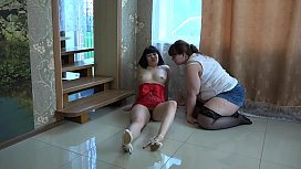 Fat lesbian satisfied her girlfriend, licked her hairy pussy and fucked.