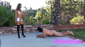 Slave beaten to workout by hot brunette dominant mistress with her whip
