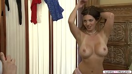 Busty milf licks and fingers young lady