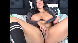 Horny and kinky Latin girl fucked with black toy