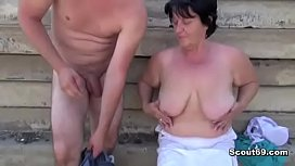 Fat Ugly Grandma with Hairy Pussy Fuck Stranger Men Outdoor