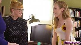 Kenzie Kush joins the horny librarians Penny Pax and Jay Taylor in eating and orgasming pussies