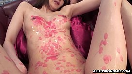 Candle dripped Asian slut...