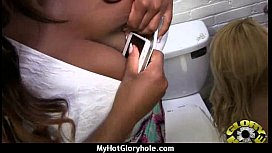 Gloryhole cock licking and sucking interracial 22