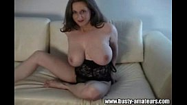 Busty Kitty playing her...