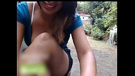Risky camgirl play outdoor...