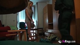 """I fucked a policeman right in my house!"" Blonde teen Kitty knows what to do to become a pornstar"