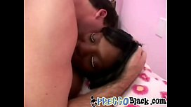 A slutty pregnant ebony chick rubs her vagina then gets fucked by white dude-1