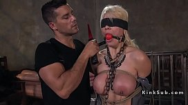 Blindfolded huge tits blonde...