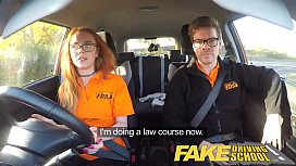 Fake Driving School Nerdy ginger teen fucked to creampie orgasm