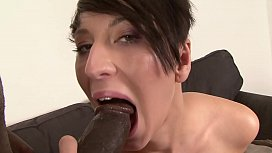 Horny stud getting his huge black cock sucked by erotic babe Nicolette before a fuck