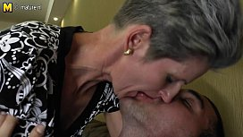Skinny Mom makes love to her s.'_s hard cock