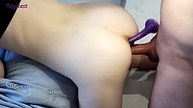 DP with Toy goes into ANAL, how to prepare her tight ass for big dick