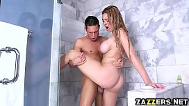 Tyler eating Skyla Noveas butt and pussy in the shower