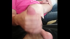 Hand job on couch...