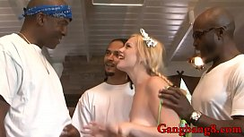 Tara Lynn Foxx pounded by big black cocks on the couch