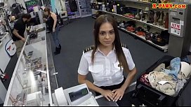 Stewardess nailed by horny pawn keeper xxx video