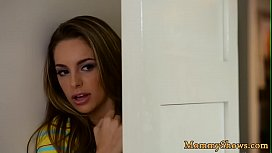 Toy loving stepmom pleasured in the kitchen
