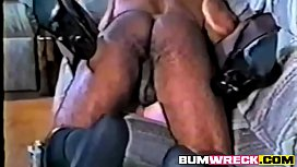 Interracial Mature fucking in Stockings