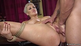 Blonde Milf in bondage rough banged