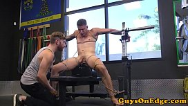 Weight lifting bdsm sub tied up and jerked