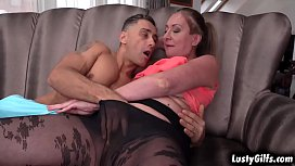 Horny granny Elizabeth Bee always watches this muscular stud Mugur while he do his worlout. She started a hot sex with him and they both loved it.