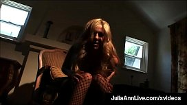 Hot Busty Milf Julia Ann Finger Bangs Pussy In Hot Fishnets!