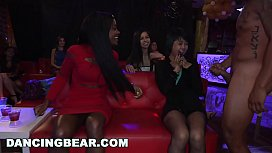 DANCING BEAR - Interracial Crowd Of Babes Gagging On Big Dicks