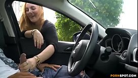 Cute blonde gives me nice handjob in public parking lot.MP4