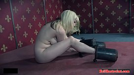 Bound bdsm chick weighed down and toyed