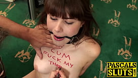 Teen sub deepthroats huge dick before rough anal slamming