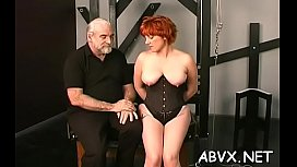 Hottie gets man to roughly stimulate her pussy in slavery xxx
