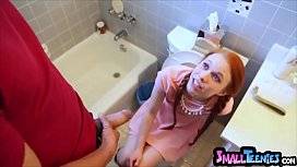 Tiny redhead stuck on the toilet then gets fucked hard