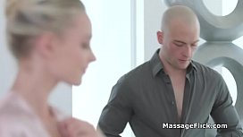 Masseuses gagging on cock during training